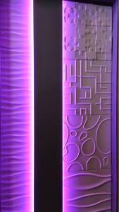 Agencement des parements Dune, Glénan, Square, Matrice et Puzzle de Staff Décor. Eclairage LED.
