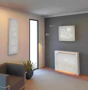 """Cache radiateurs et tableaux lumineux par Staff Décor, Collection """"Constellation"""", design des motifs Sophie Briand"""